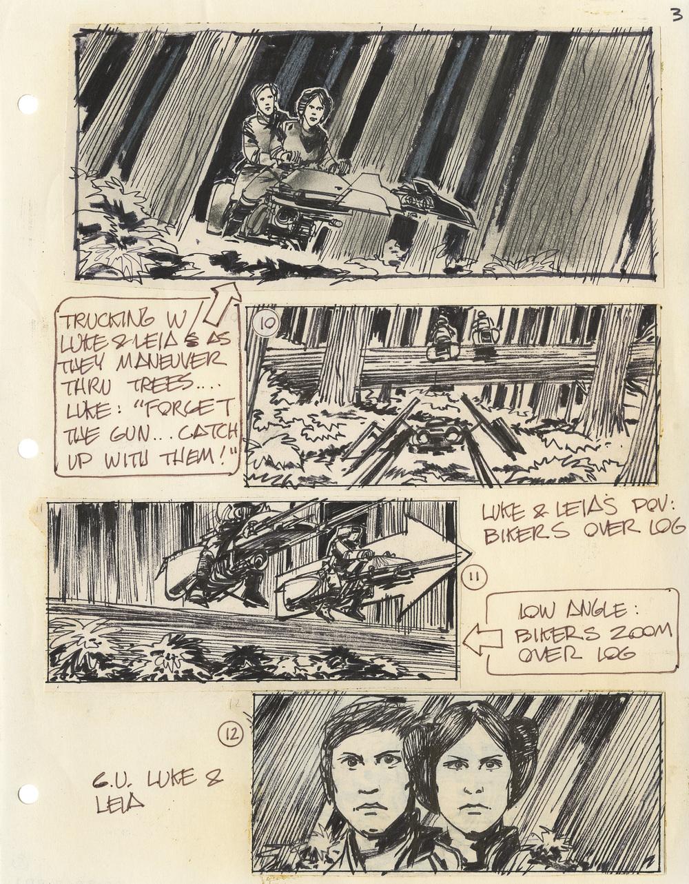 A giant log bars Luke and Leia's path – Joe Johnston