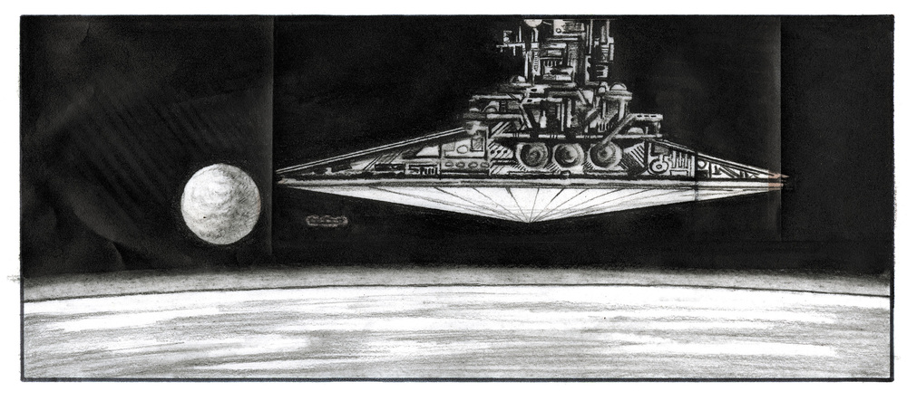 A lone rebel ship pursued by four Star Destroyers (not all were depicted) - Alex Tavoularis