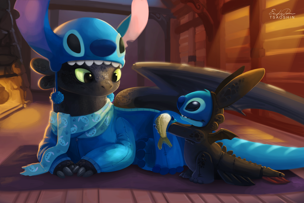 toothless-and-stitch-sleepover-fan-art