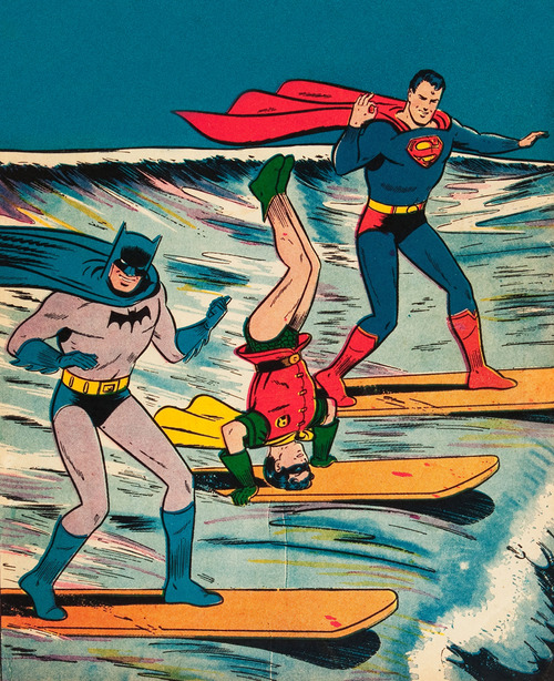 vintage-1964-comic-art-of-batman-superman-and-robin-surfing