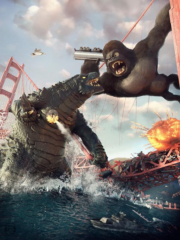 King Kong Vs  Godzilla in Awesome Digital Art by Vitorugo QueirozKing Kong Vs Godzilla 2015