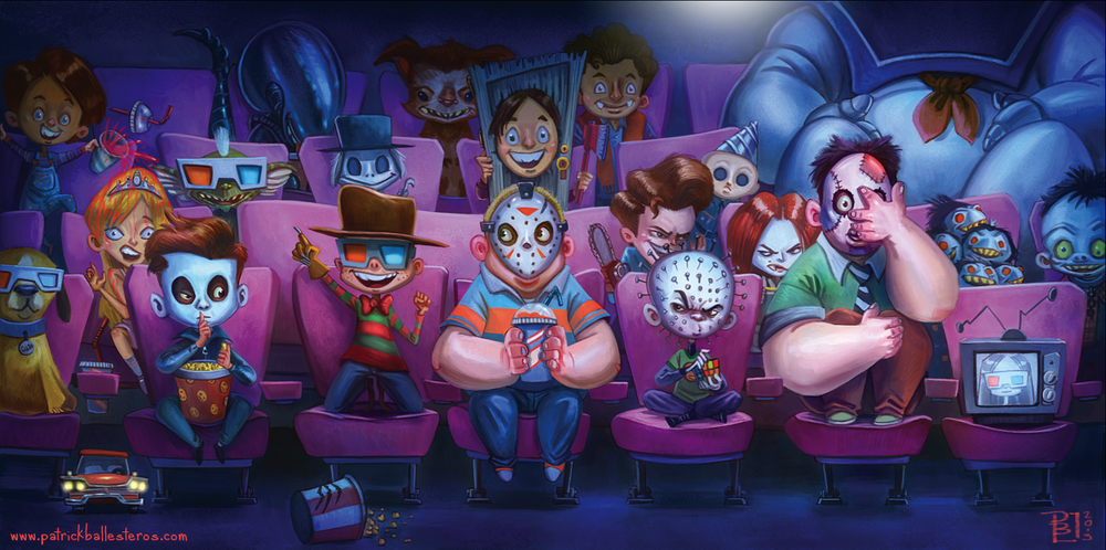 horror-movie-icons-go-to-the-movies-in-friday-night-frights-art