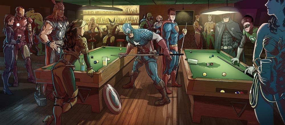superheroes-playing-pool-in-the-superbar
