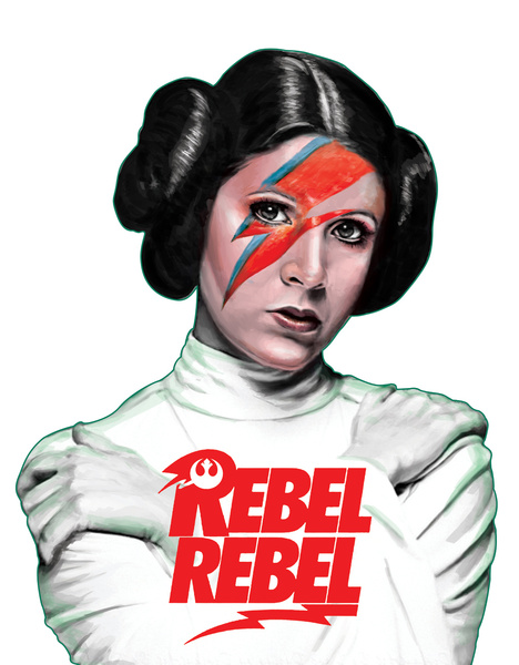 Princess Leia with David Bowie lightning strike makeup, Rebel Rebel written below