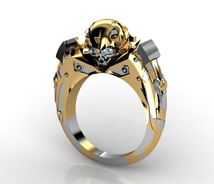 Gold Plated Bumblebee Transformers Ring Geektyrant