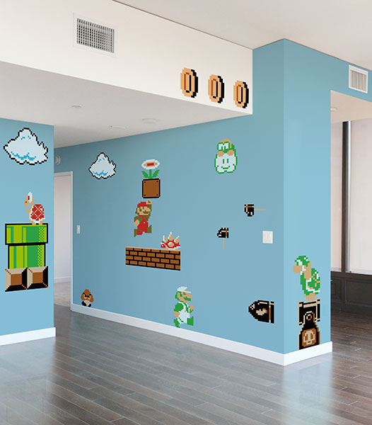 Beautiful Think Geek has created an awesome set of Super Mario Bros vinyl wall decals Turn your home or office into the game level of your dreams