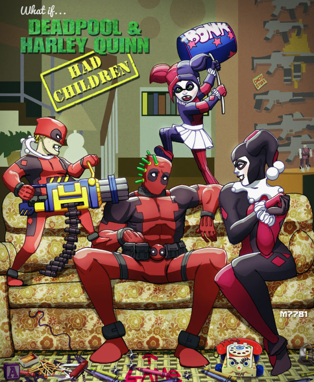 what-if-deadpool-and-harley-quinn-had-kids-funny-fan-art