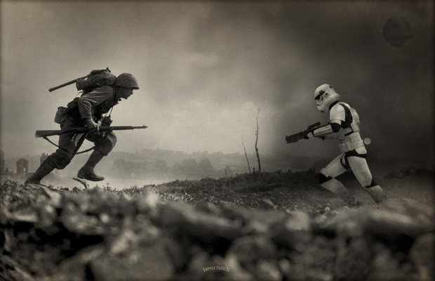 World War II infantry man runs towards Star Wars Stormtrooper in black and white aged image