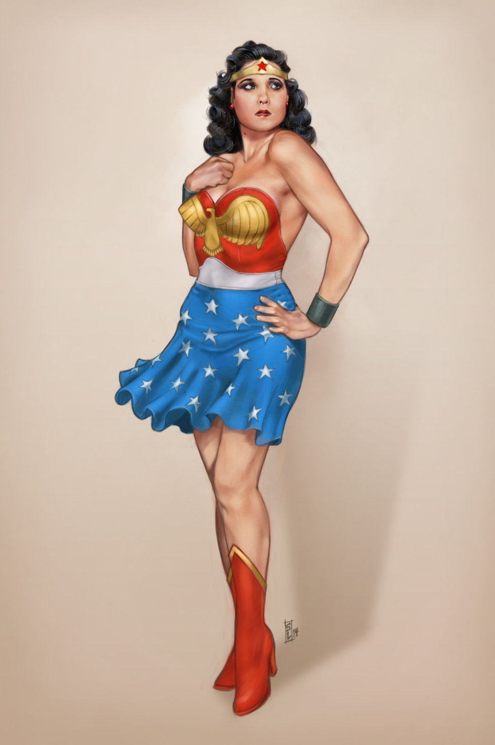 Classy female superhero pin up art by stephen langmead geektyrant - Photo pin up ...