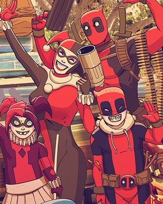 Deadpool and harley quinn in irrational lampoon vacation geektyrant - Deadpool harley quinn notebook ...