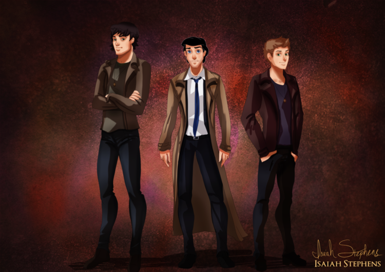 Prince Charming, Prince Eric, and Prince Florian as Sam, Castiel, and Dean from Supernatural