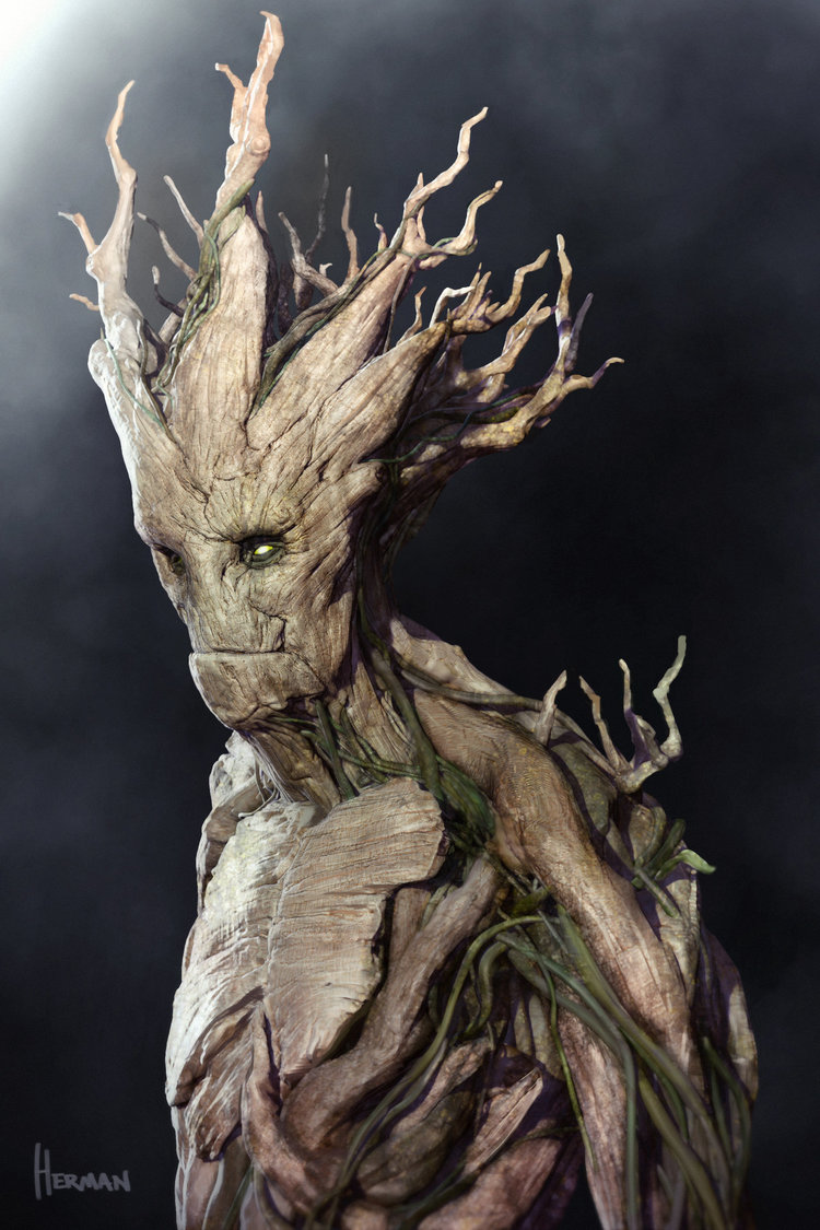 groot concept art from guardians of the galaxy geektyrant