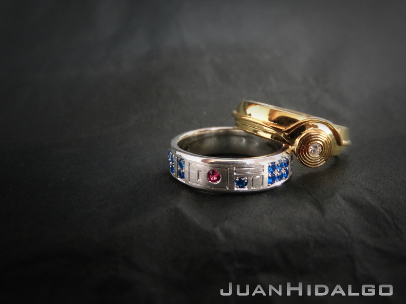 Star wars inspired r2 d2 and c 3po wedding rings geektyrant for Star wars wedding rings