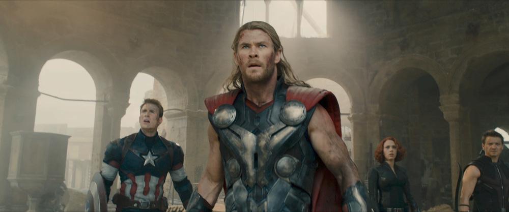 Avengers in awe of something big.