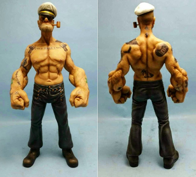 Crazy Looking Realistic Popeye Figurine Geektyrant