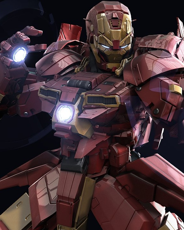 iron man gundam digital art by mars � geektyrant