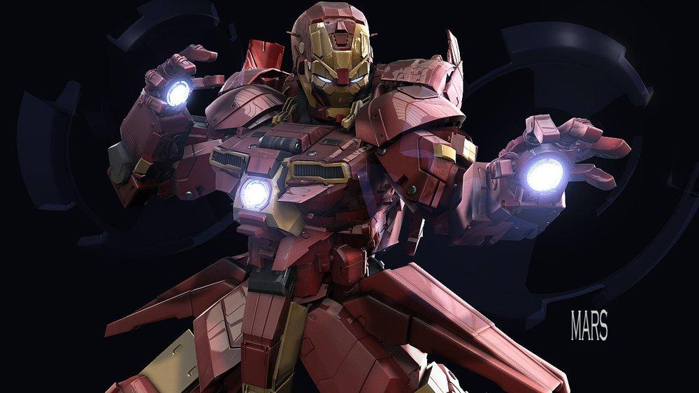 iron man gundam digital art by mars � geektyrant