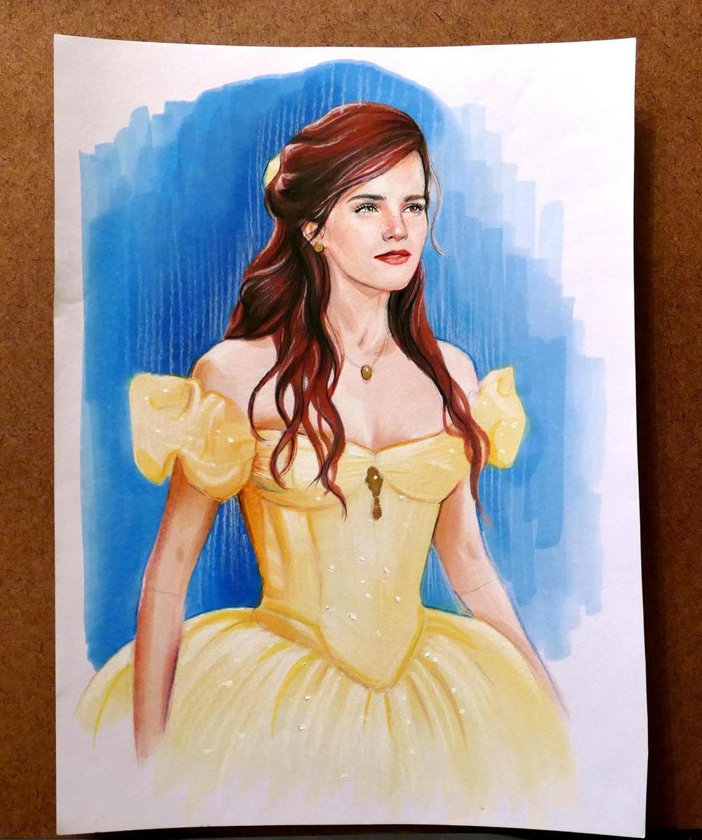 Fan Draws Emma Watson As Belle in BEAUTY AND THE BEAST — GeekTyrant