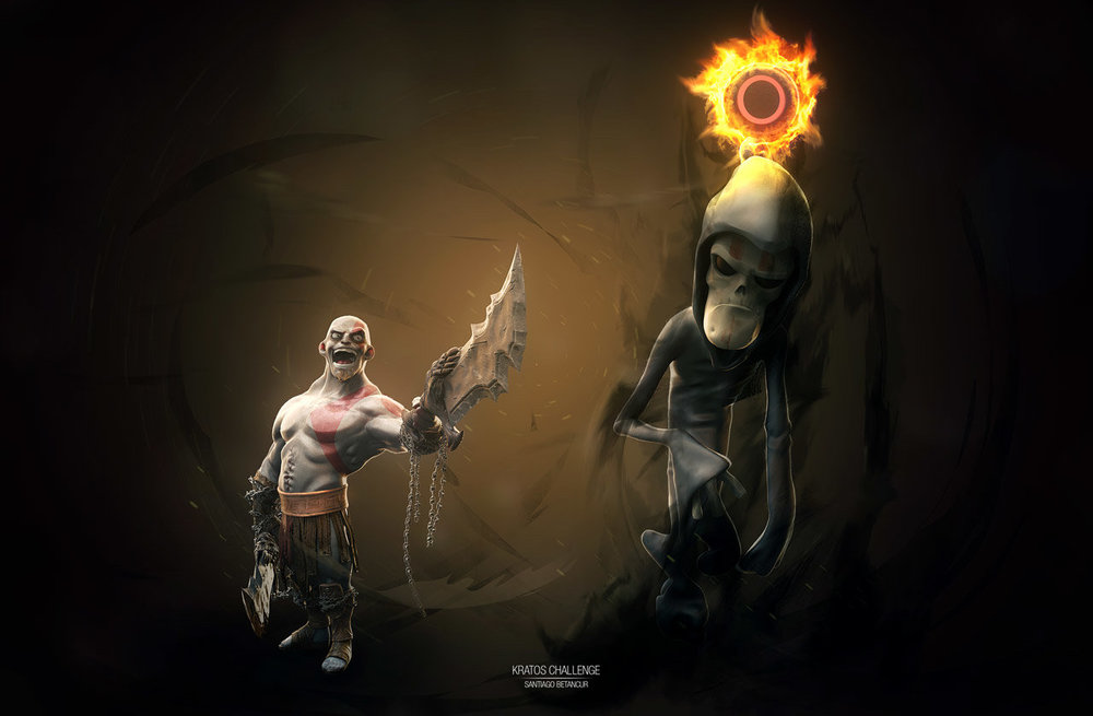 god-of-war-cartoon-fan-art-kratos-vs-death