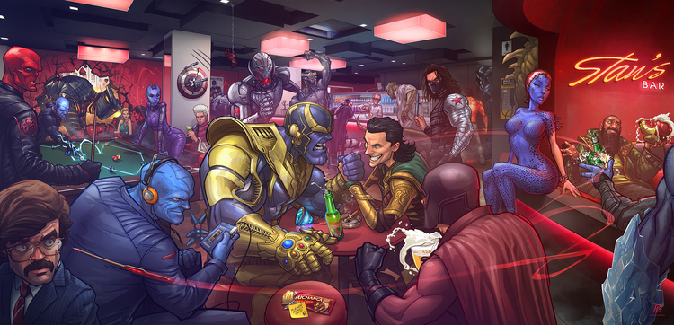 marvel-movie-villains-hang-out-in-bar-in-fan-art