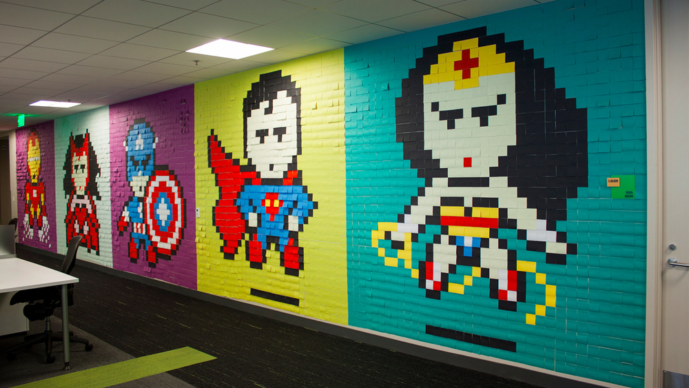 Superhero Office Mural Made From Post-it Notes — GeekTyrant
