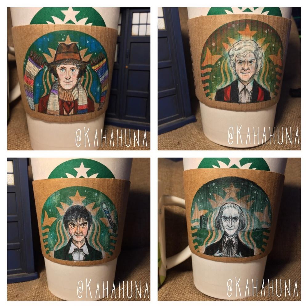 DOCTOR WHO Art Series Drawn on Starbucks Coffee Sleeves ...