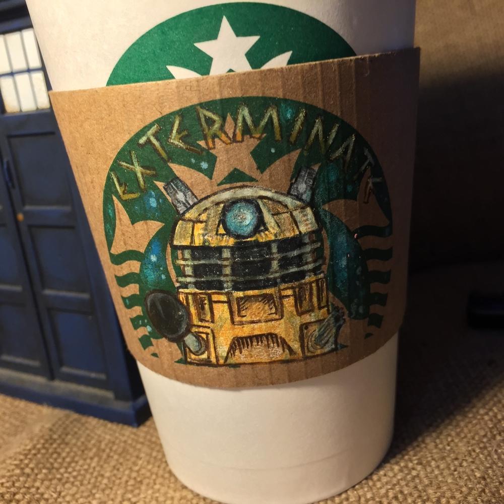 doctor who art series drawn on starbucks coffee sleeves