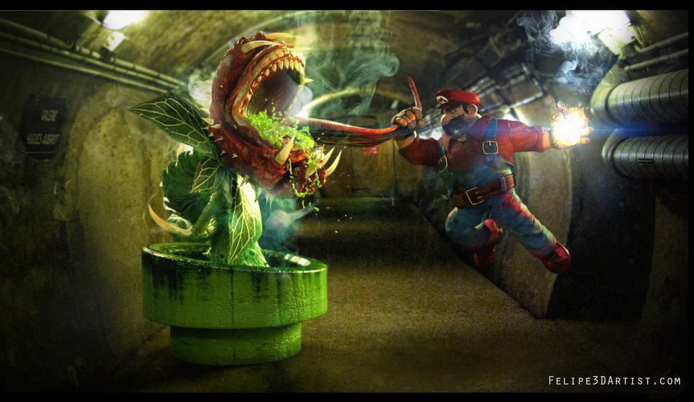 mario-berracus-vs-piranha-plant-in-art-by-felipe-gonzlez