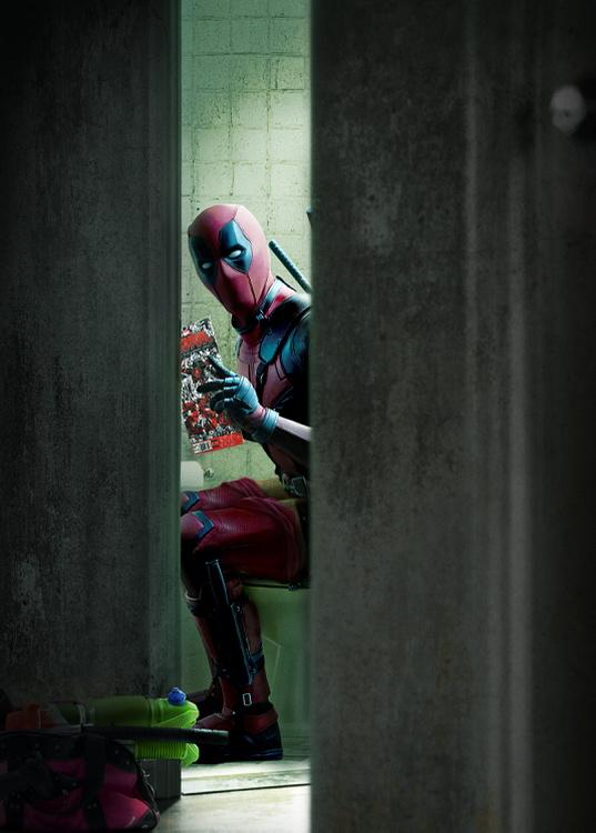 Official deadpool photo shows character reading his comic for Dead pool show in jaipur