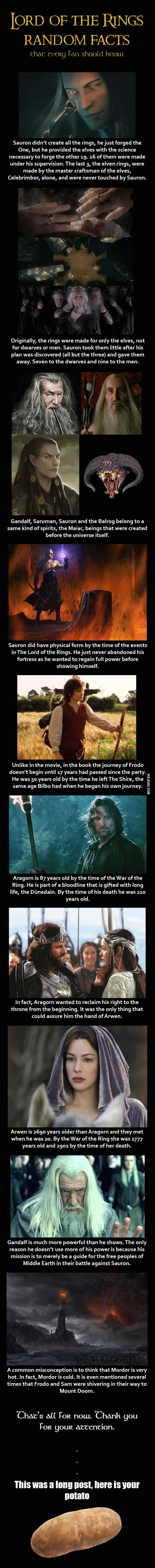 Little known facts about the characters of the Lord of the Rings trilogy