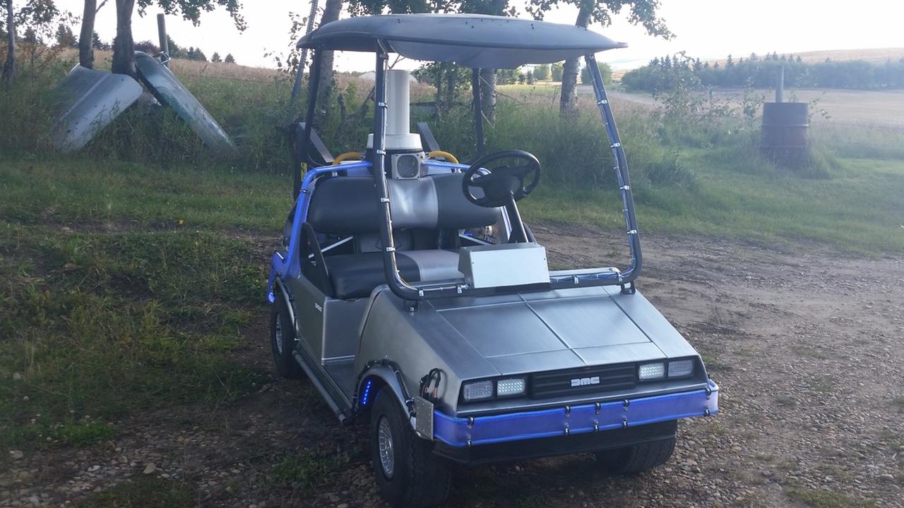 BACK TO THE FUTURE DeLorean Time Machine Golf Cart — GeekTyrant Golf Cart Time Machine on lawn mower time machine, truck time machine, bmw time machine,