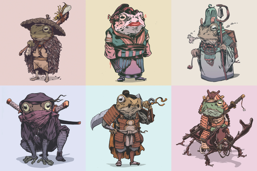 Top 10 Character Design Books : Samurai frog warrior art the lilypad seven — geektyrant