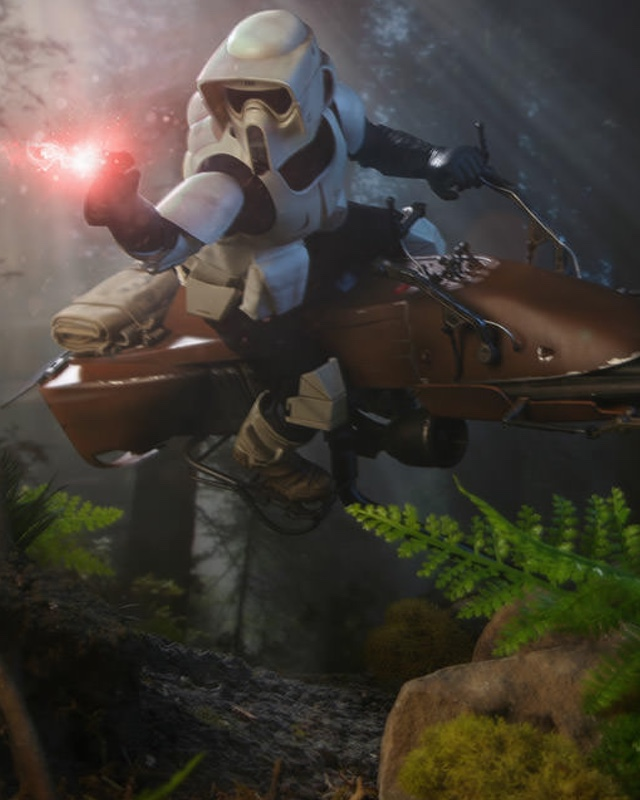 Star Wars Scout Trooper And Speeder Bike Action Figure