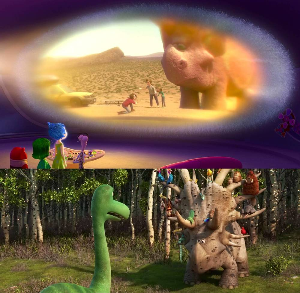 there are some good dinosaur easter eggs in inside out and