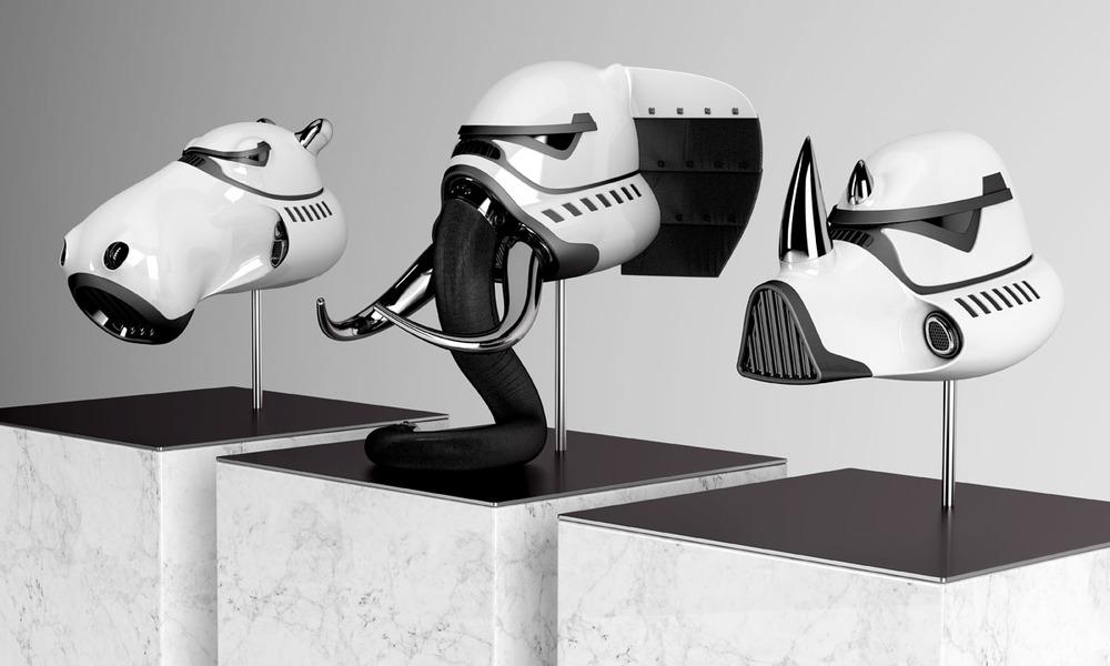 interesting and cool stormtrooper helmets for an animal. Black Bedroom Furniture Sets. Home Design Ideas