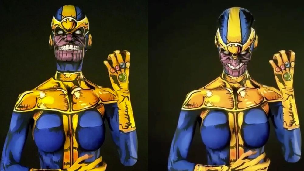 insane thanos body paint cosplay brings marvel comic villain to life