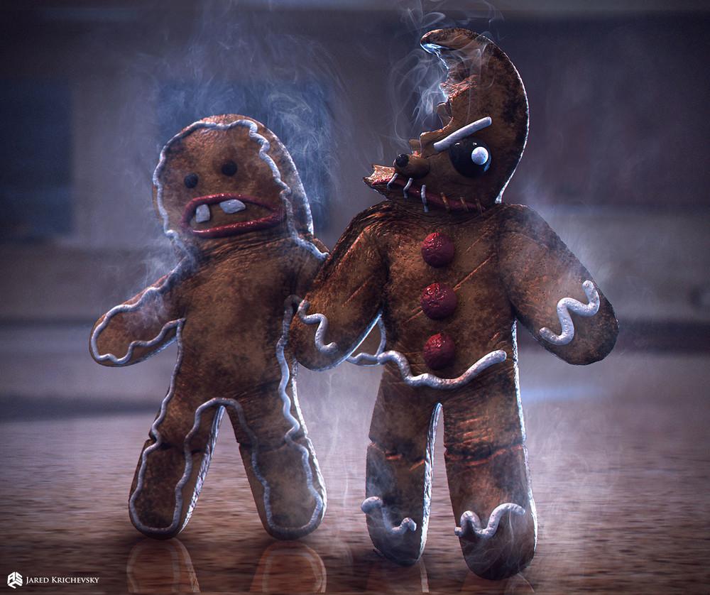 krampus concept art shows demonic gingerbread men evil
