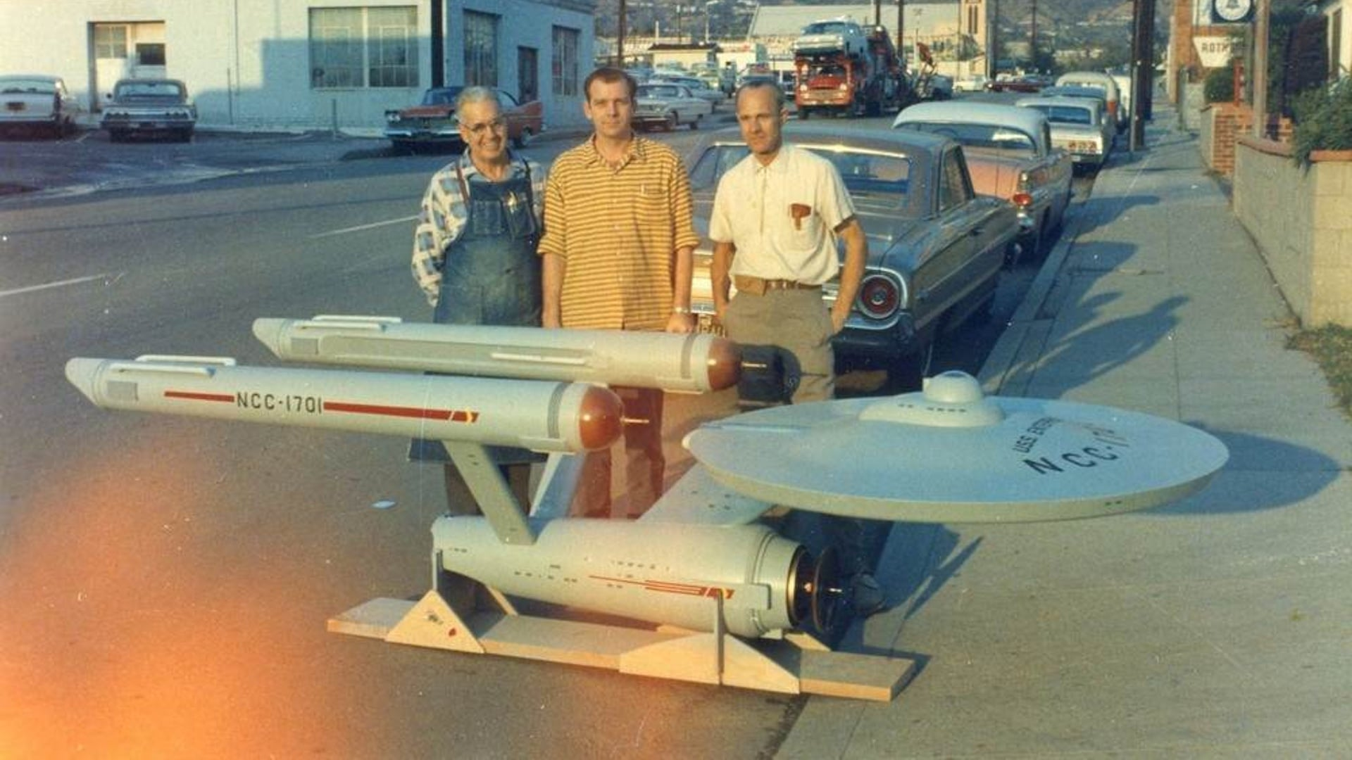 Photo of original star trek enterprise model with the men who built youve gotta check out this photo featuring the original uss enterprise model with the three men who build it this photo was taken in 1964 publicscrutiny Gallery