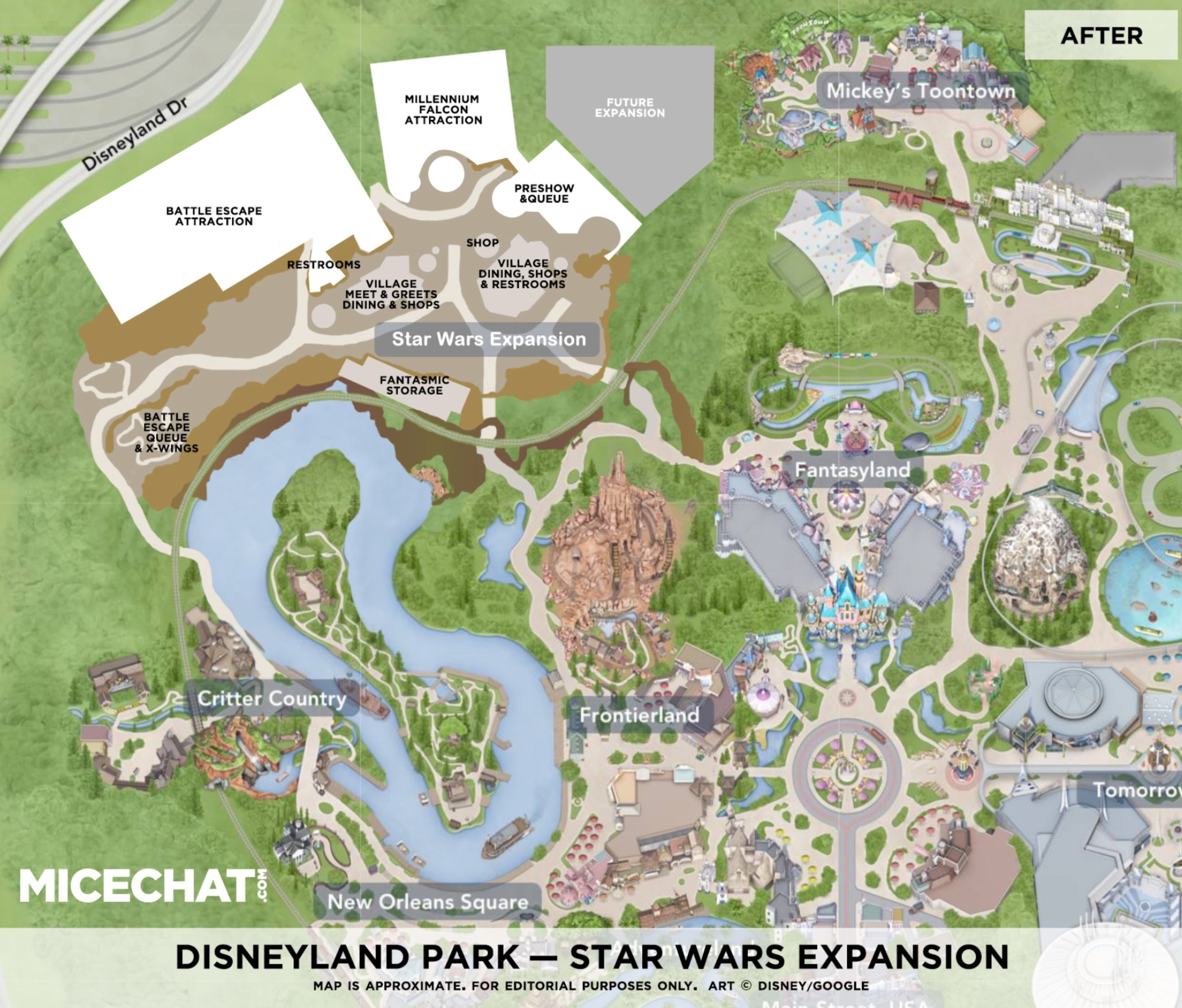 Disney Los Angeles Map.Disneyland S Star Wars Land Expansion Layout Shown In Map And New