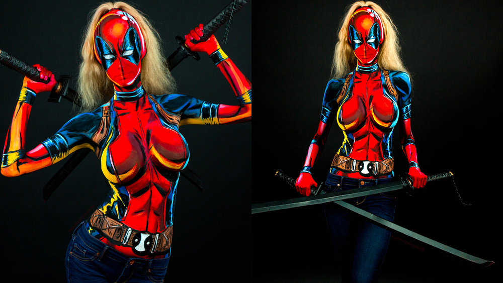 Check Out This Lady Deadpool Body Paint Cosplay GeekTyrant