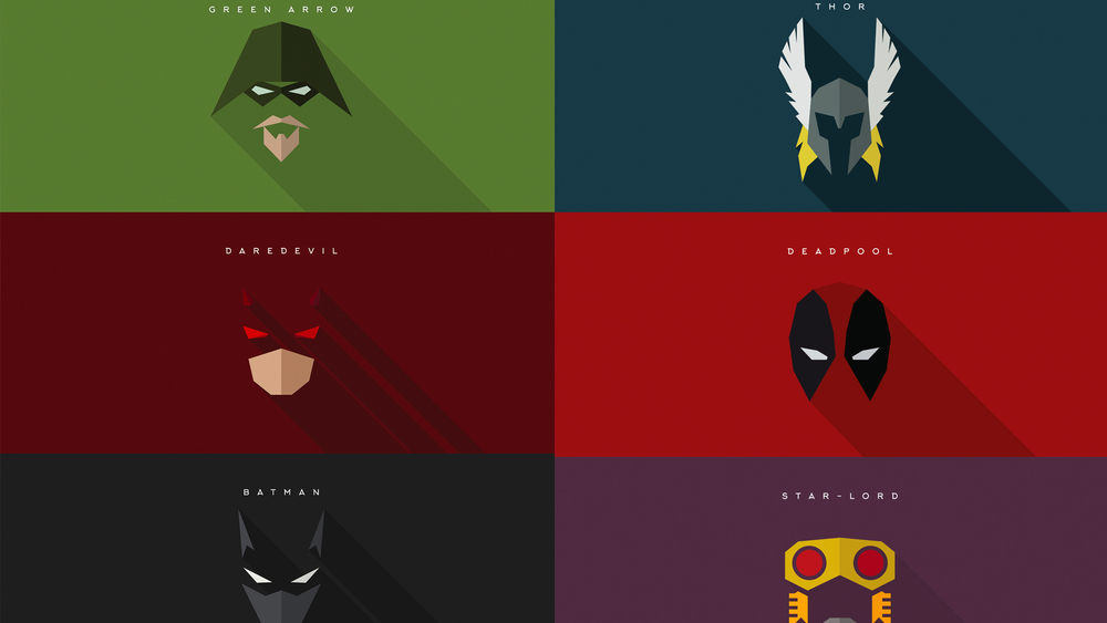 Minimalist superhero masks for batman daredevil deadpool for Minimal art hero