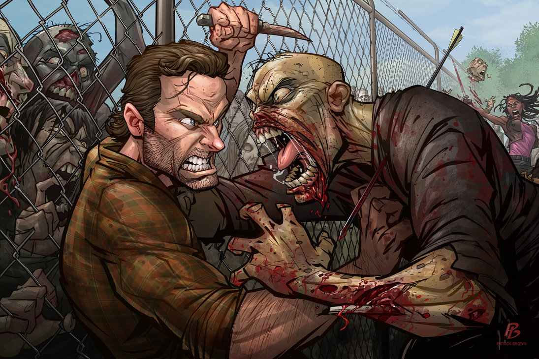 Raging Zombie Attacks Rick In Walking Dead Fan