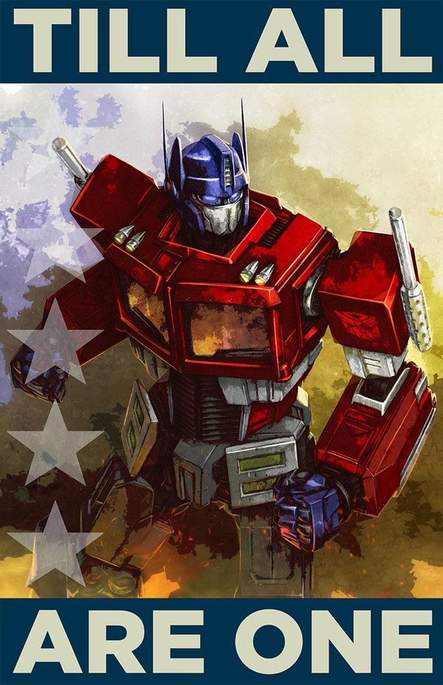 transformers propaganda posters �till all are one� and