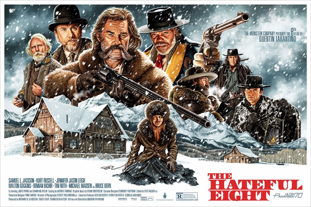 """The Hateful Eight  by Jason Edmiston.36""""x24"""" screen print. Hand numbered. Timed edition available for 72 hours from  Thursday (4/21) at 12PM CST  until  Sunday (4/24) at 12PM CST. Printed by D&L Screenprinting. Expected to ship in 6 - 8 weeks. $55"""
