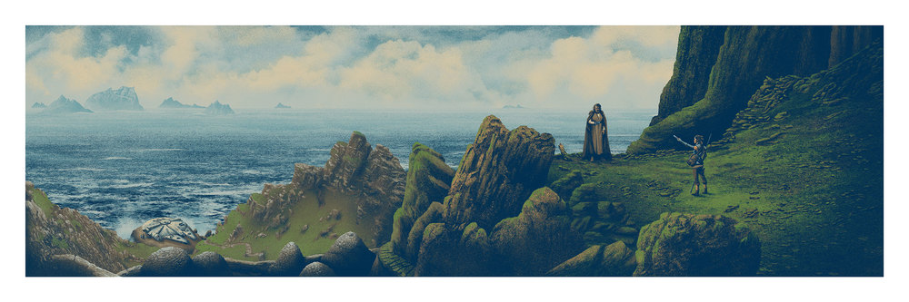 """Hope is not lost today. It is found."" (Regular with Rey) 12 x 36 inches  7 color screen print Timed edition (starts 12pm Eastern and ends on Sunday, July 17th at 11:59pm Eastern) $50"