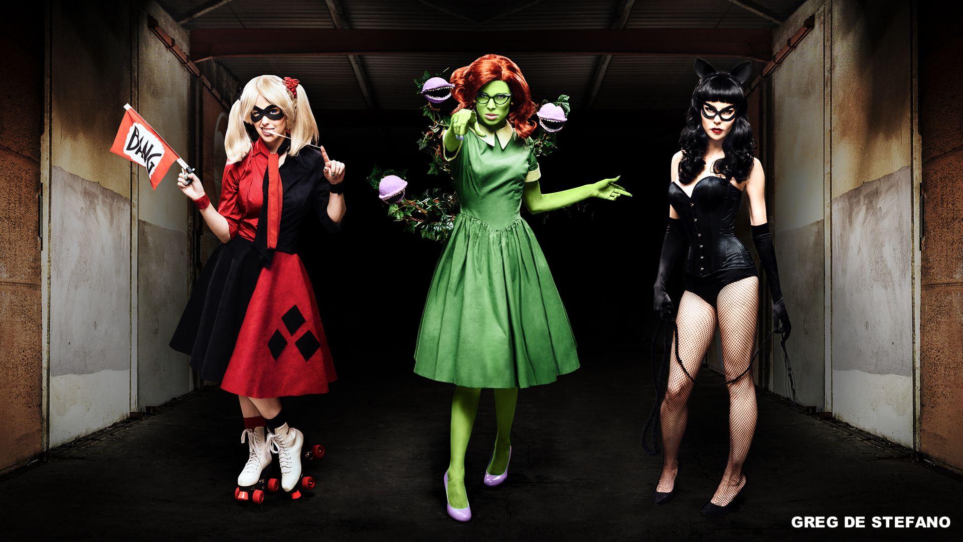 wildly fun rockabilly dc villainous cosplay for harley quinn, poison