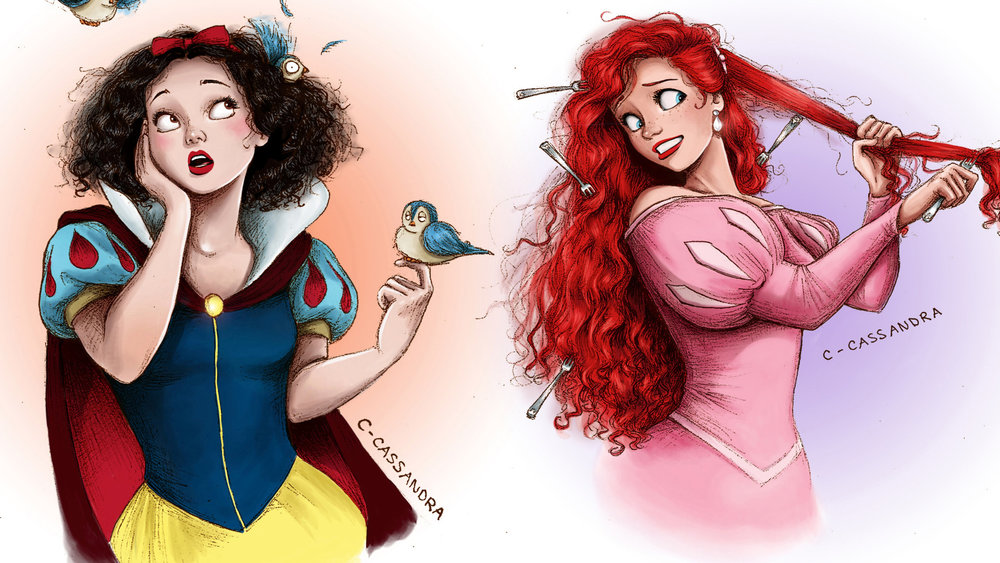 disney princesses   u0026quot the hair struggle is real u0026quot  by artist c  cassandra  u2014 geektyrant