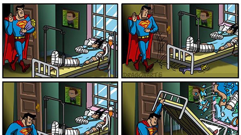 Funny Cartoon Hospital Pics hilarious comic strip features superman visiting batman in