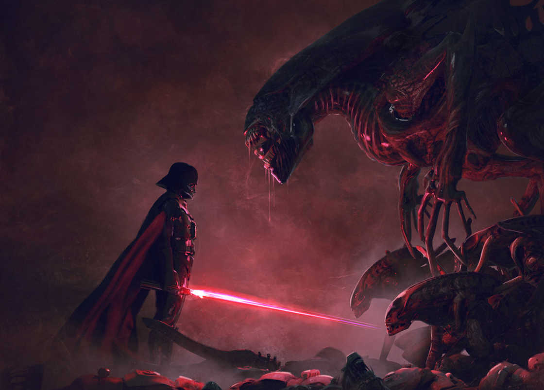 Darth Vader Vs Xenomorph In Gloriously Badass STAR WARS And ALIENS Fan Art Series