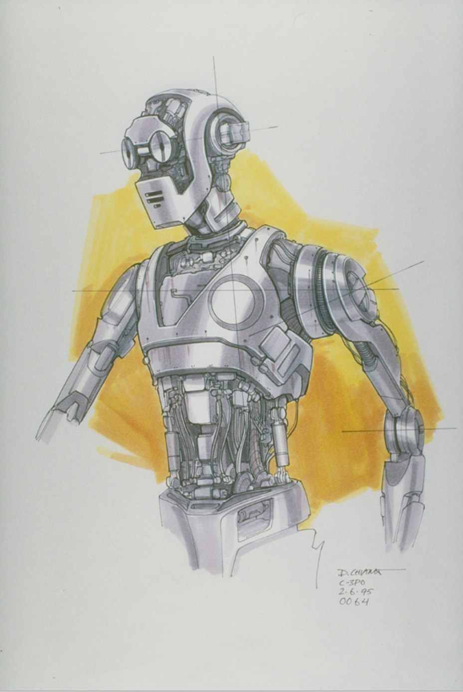 C-3PO concept art from The Phantom Menace by Doug Chiang.